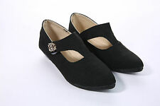Girls Casual Shoes Stick On Flat Pointed Pumps Occasion Shoes Kids School Shoes