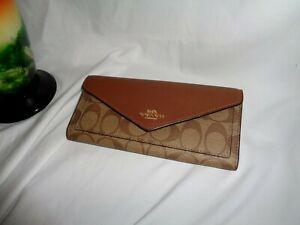 Coach 3034 Signature Envelope Wallet Clutch Khaki Saddle 2 Clutch