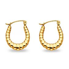 14k Yellow Gold Oval Shrimp Hoop Earrings Hollow French Lock Fancy Solid