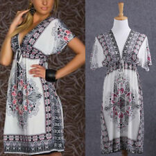 Plus Size Sexy Summer Women Floral Short Sleeve Beach Boho Maxi Sundress Dress