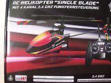 """RC Hubschrauber """"SINGLE BLADE"""" 4 Kanal 2,4 GHz für Profis mit 2 Akkus"""