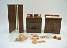 Vintage Doll House Brown-Painted Kitchen Appliances with Accessories Town Square