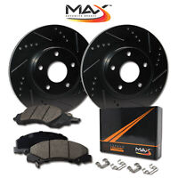 [FRONT] [ELITE BLACK] Slotted & Drilled Rotors with Ceramic Pads & Hardware Kit