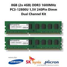 8GB Dual Channel Kit (2x 4GB) DDR3 1600MHz (PC3-12800U) 1,5V 240Pin Dimm