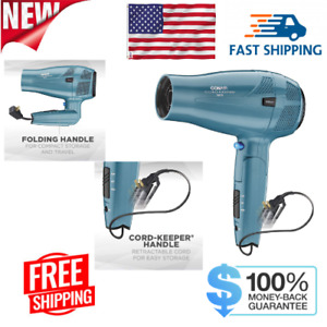 Conair 1875 Watt Cord Keeper Travel Hair Dryer with Folding Handle and Retractab
