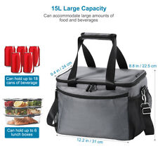 AU Insulated Thermal Cooler Lunch Box Carry Tote Work Case Storage Bag 15L Large