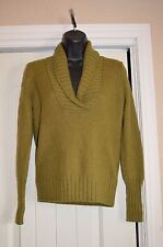 Womans J.Crew Olive Long Sleeve V-Neck Sweater Size Small