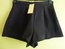 H&M Short Wide-Cut Thick Stretch Fabric Shorts Size 8 Uk BNWT RRP £28.98 Black
