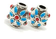 Two Enamel Hair Beads Enamel and Pewter Moroccan Indian Bali 17 x 14 x 10mm Apx