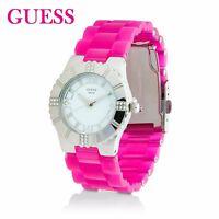 GUESS Damen Armbanduhr in Pink und Silber mit Zirkonia W95087L1