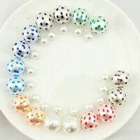 Polka Double Sided Pearl Earrings Ball Studs for Women Girls jewelry