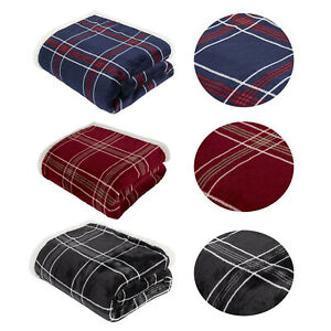 Check Printed Flannel Fleece Throw Over Sofa Soft Warm Bed Blanket Bedspread