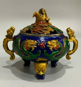 Collect Chinese dynasty Palace Decor Old Cloisonne dragon Statue Incense Burner