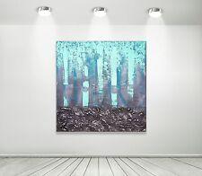 MK1 Art Bild Leinwand Abstrakt Gemälde Kunst Malerei modern Bilder XXL türkis