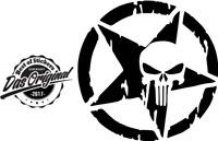 2 x Army Stern mit Skull Aufkleber v. Farben Größe 10x10 cm ANSEHEN Skullstar