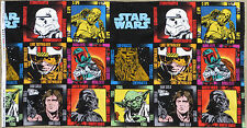 "STAR WARS QUILTING PANEL 23x45"" 100% COTTON FABRIC CHEWBACCA C-3PO HAN SOLO YODA"