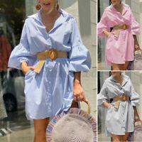 ZANZEA Womens Button Down Mini Shirt Dress Ladies Long Sleeve Casual Long Blouse