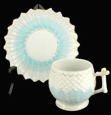 ANTIQUE VICTORIAN PORCELAIN CUP & SAUCER FLORAL HOBNAIL SUNBURST BLUE
