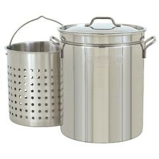 Stock Pot With Strainer 44 Qt Stainless Steel Seafood Stockpot Steam Boil Basket