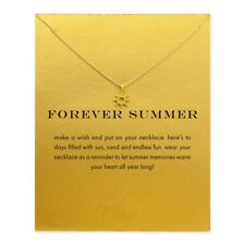 "18K Gold Plated ""Forever Summer"" Sun Inspirational Message Necklace"