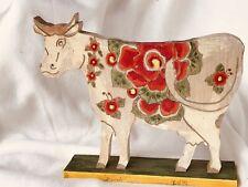 Vintage Hand Painted Wooden Cow Folk Art Americana Figurine Statue Peonies