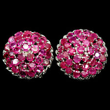 NATURAL PINK RUBY EARRINGS 925 STERLING SILVER