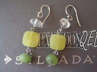 SILPADA Sterling Silver 925 Canadian Olive Green Jade Crystal Earrings W1240 LA