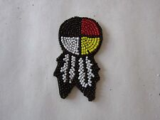"""1.5"""" GLASS BEADED 4 DIRECTION MEDICINE WHEEL W/FEATHERS ROSETTES CRAFTS"""