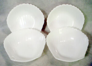 """4 Mint COQUILLAGE Sea Shell WHITE Soup Salad 6"""" BOWL Lot ARCOROC Clam SEAFOOD"""