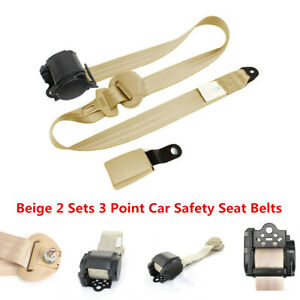 2 Sets Beige 3 Point Retractable Car Safety Straps Front Seat Belts Accessories