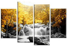 GIALLO Alberi Foresta Waterfall CANVAS Wall Art Picture 4 pannello diviso FIGURE 40 ""