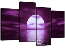 Large | Purple Canvas Wall Art Pictures Set 130cm Wide XL Prints 4002