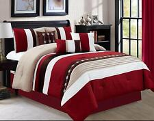 7 Pcs Stripe Luxury Bedding Comforter Set, Bed in a Bag, Cal King Size Burgundy