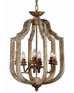 Pendant Chandelier Wrought Iron and Aged Wood 6 Bulb Light