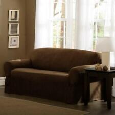 NIP MAYTEX SUEDE 1 PIECE LOVESEAT SLIPCOVER CHESTNUT BROWN FOR BOX CUSHIONS