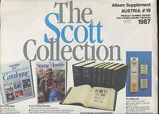 New 1987 Scott Austria #19 Stamp Album Supplement Pages #300S087