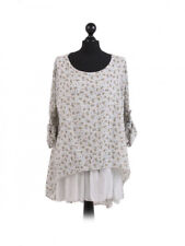 Lagenlook layered floral top with inset panel