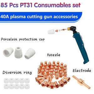 85Pcs Air Plasma Cutter Consumables Torch Tip Extended Kit For PT-31 LG 40 CUT50