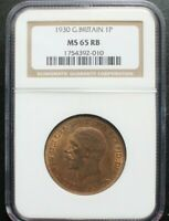 1930 GREAT BRITAIN PENNY NGC MS 65 RB KM# 838