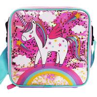Kids Polar Gear Rainbow Unicorn Pink Glitter School Lunch Box Bag With Handle