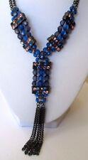 Bijou style Vintage collier réglable couleur vieil argent pendant perles 639