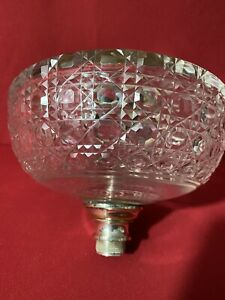 LARGE CUT GLASS  OIL LAMP FONT WITH SILVER PLATE FITTINGS