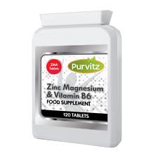 Zinc Magnesium & Vitamin B6 ZMA 120 Tablets Skin Bones Muscle Energy Purvitz UK