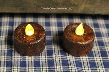 2 LARGE Primitive Burnt MUSTARD AUTO TIMER Tea Light Candles