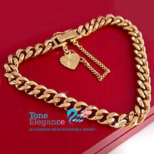 18k yellow gold GF diamond cut solid chain ladies mens bangle bracelet
