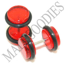 1173 Fake Cheater Illuion Faux Plugs Studs Gauges Red Glitter 0G Look 16G Bar