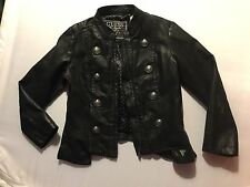 Guess Girls Black Faux Leather Military Jacket