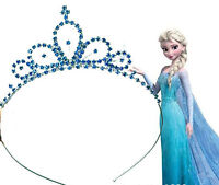 Girls Kid blue Metal Princess Crystal Frozen Elsa Head Hair Tiara Crown headband