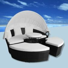 vidaXl Outdoor Sun Bed Poly Rattan Wicker Black Day Bed Sofa Garden Lounger