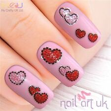 Rosa Y Rojo Brillo corazón Adhesivo Nail Art pegatinas